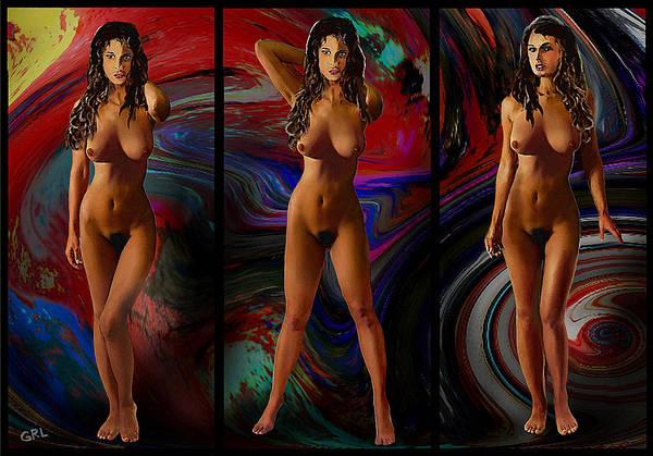Traditional Modern Female Nude Jean Standing Triptic Art Print