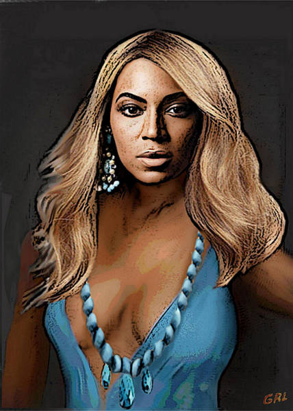 Traditional Modern Original Painting Beyonce In Turquoise Art Print