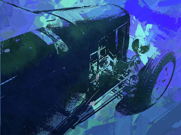 Digital Art - Traditional Roadster Pop Blue by David King