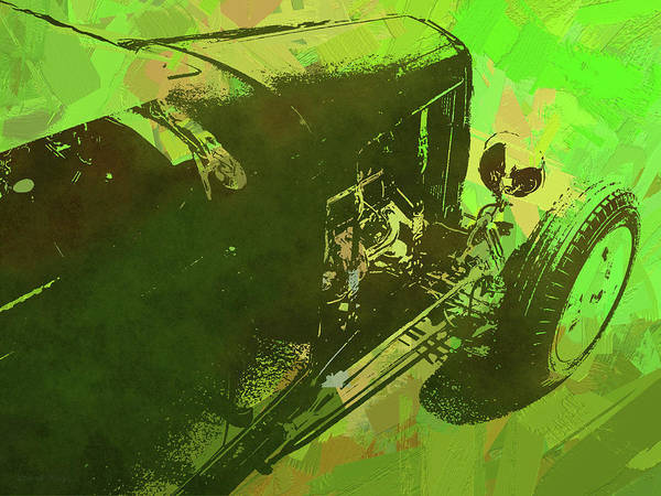 Digital Art - Traditional Roadster Pop Green by David King