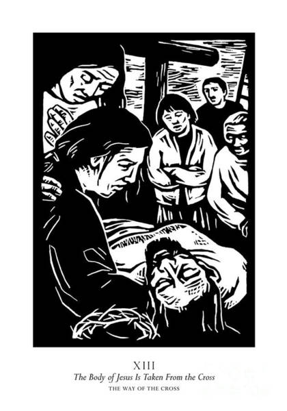 Painting - Traditional Stations Of The Cross 13 - The Body Of Jesus Is Taken From The Cross - Jljit by Julie Lonneman