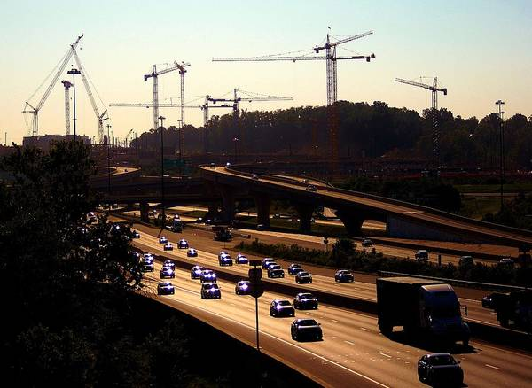 Photograph - Traffic And Cranes by Buddy Scott