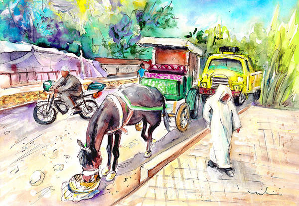 Painting - Traffic In Ait Ourir In Morocco by Miki De Goodaboom