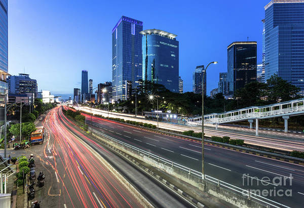 Photograph - Traffic Light Trails In Jakarta Business District In Indonesia C by Didier Marti