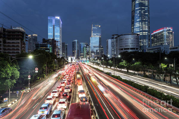 Photograph - Traffic Light Trails In The Heart Of Jakarta Business District I by Didier Marti