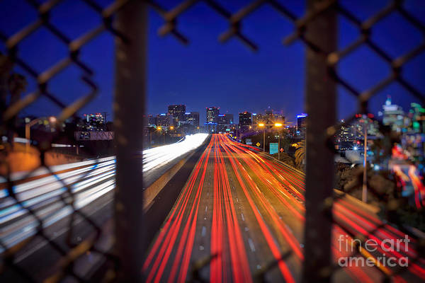 Photograph - Traffic Light Trails Leading To The San Diego Skyline  by Sam Antonio Photography