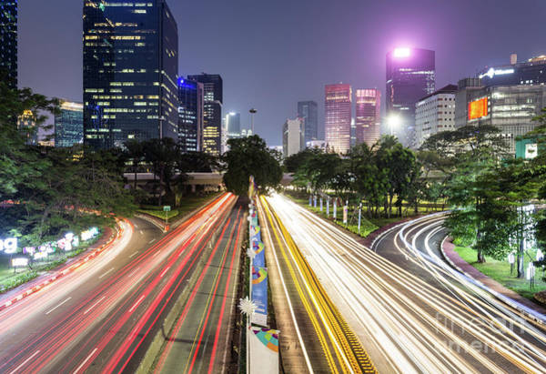 Photograph - Traffic Night Rush In Jakarta, Indonesia Capital City.  by Didier Marti
