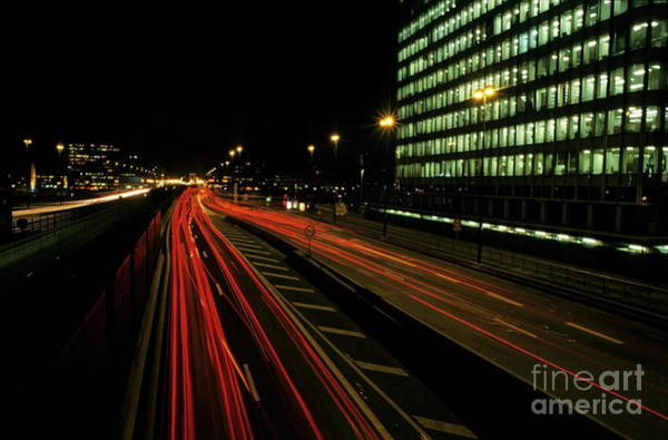 Wall Art - Photograph - Traffic On A City Highway At Night Near La Defense Business District by Sami Sarkis