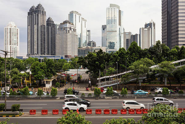 Photograph - Traffic On Highway In Jakarta Business District In Indonesia Cap by Didier Marti