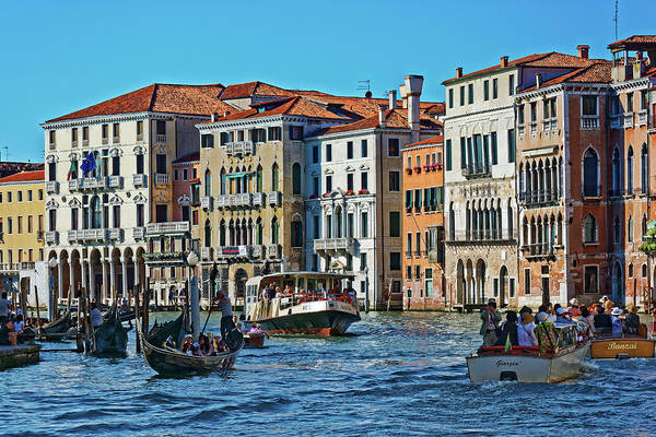 Photograph - Facades, Boats And Gondolas On The Grand Canal In Venice, Italy by Fine Art Photography Prints By Eduardo Accorinti