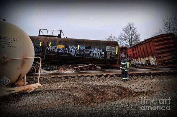 Wall Art - Photograph - Train Accident Fireman And Hazmat by Paul Ward