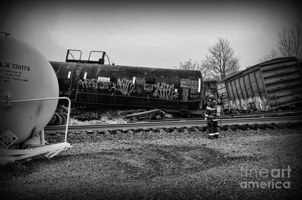 Wall Art - Photograph - Train Accident Fireman On Scene by Paul Ward