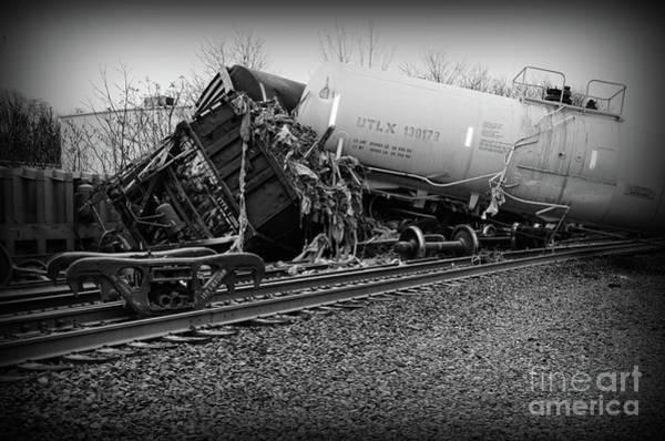 Train Derailment Photograph - Train Accident In Black And White by Paul Ward