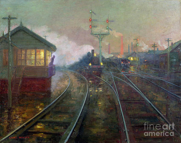 Railroad Station Painting - Train At Night by Lionel Walden