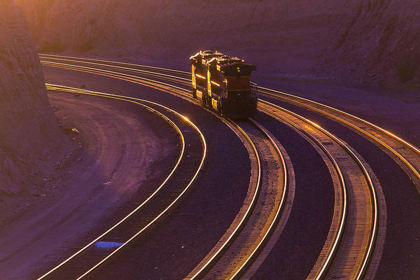 Train Track Photograph - Train At Sunset by Garry Gay