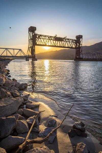 Lewiston Photograph - Train Bridge Beach by Brad Stinson