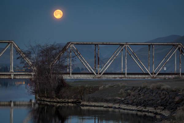 Lewiston Photograph - Train Bridge Moon by Brad Stinson