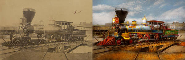 Photograph - Train - Civil War - Em Stanton 1864 - Side By Side by Mike Savad