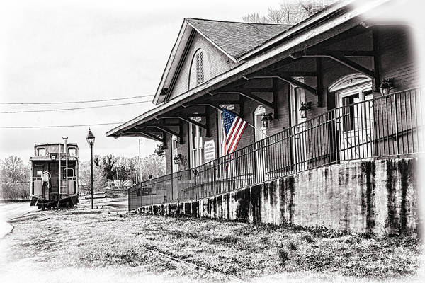 Photograph - Train Depot Selective Color Flag by Sharon Popek