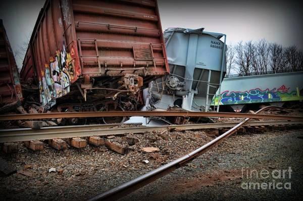 Train Derailment Photograph - Train Derailed Freight Cars  by Paul Ward