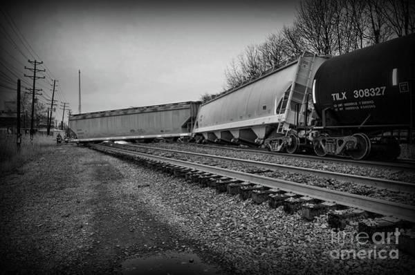 Train Derailment Photograph - Train Derailed In Black And White by Paul Ward
