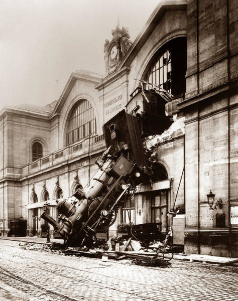 Vintage Paris Photograph - Train Derailment At Montparnasse Station - 1895 by War Is Hell Store
