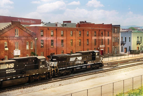 Rr Photograph - Train - Engine -  Now Arriving In Roanoke Virginia by Mike Savad