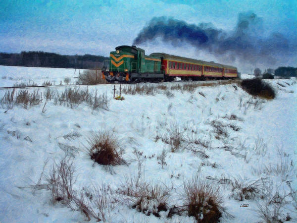 Painting - Train In Winter Landscape - Pol109497 by Dean Wittle