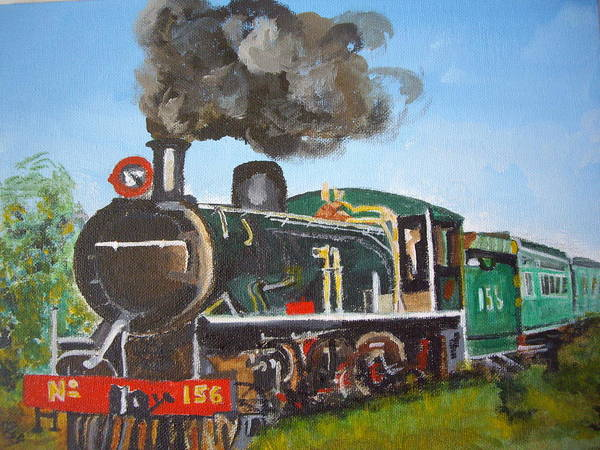 Victoria Falls Painting - Train Nearing Victoria Falls by Carole Robins