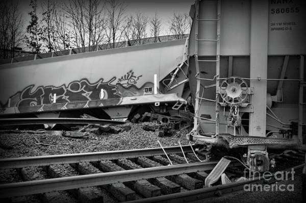 Train Derailment Photograph - Train Off The Rails In Black And White by Paul Ward