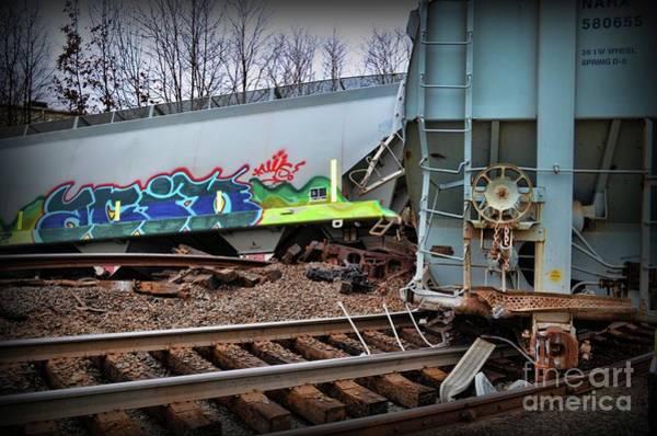 Train Derailment Photograph - Train Off The Rails  by Paul Ward