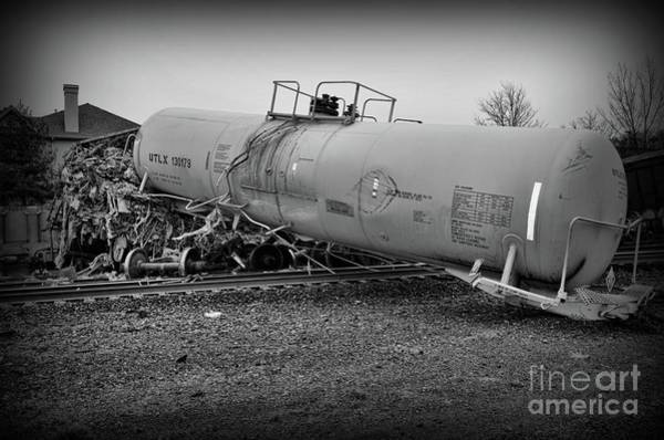 Train Derailment Photograph - Train Off The Tracks In Black And White by Paul Ward