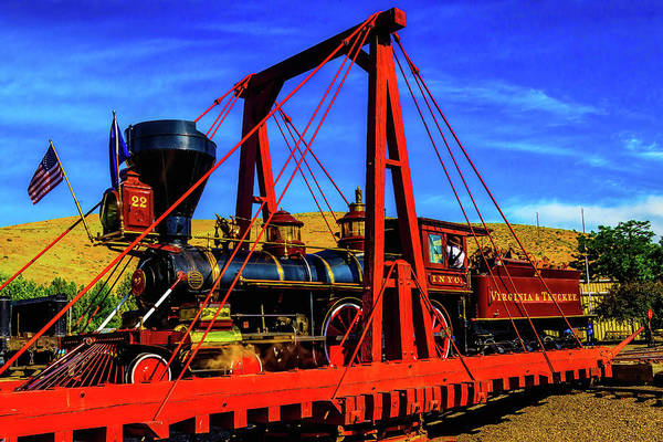 Gay Flag Photograph - Train On Wooden Turntable by Garry Gay