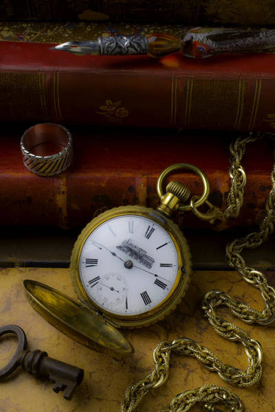 Photograph - Train Pocket Watch And Old Books by Garry Gay