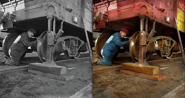 Photograph - Train Repair - Fixing A Flat 1942 - Side By Side by Mike Savad