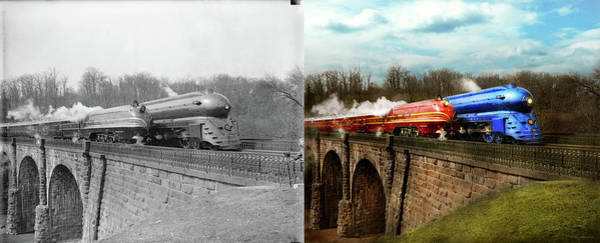 Photograph - Train - Retro - Meet The Royals 1938 - Side By Side by Mike Savad