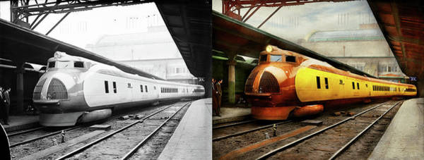 Photograph - Train - Retro - The Streamlined M-10000 1934 - Side By Side by Mike Savad