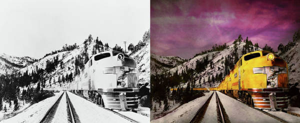 Photograph - Train - Retro - Travel With Style 1940 - Side By Side by Mike Savad
