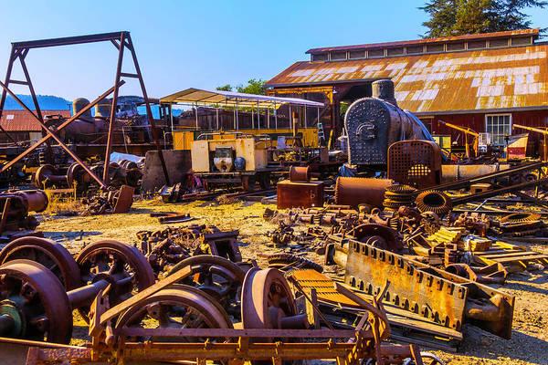 Bone Yard Wall Art - Photograph - Train Scrap Yard Felton California by Garry Gay