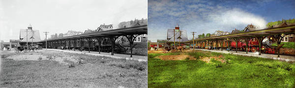 Photograph - Train Station - Adirondacks Ny - The Central Station 1909  - Side By Side by Mike Savad