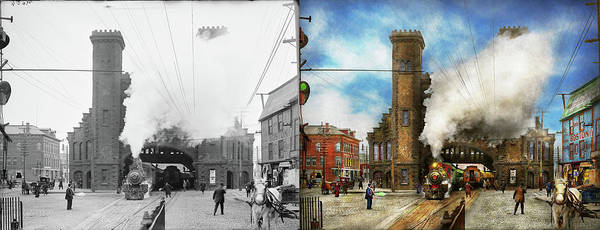 Photograph - Train Station - Boston And Maine Railroad Depot 1910 - Side By Side by Mike Savad