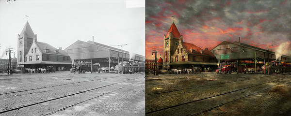 Photograph - Train Station - Ny Central Railroad Depot 1905 - Side By Side by Mike Savad