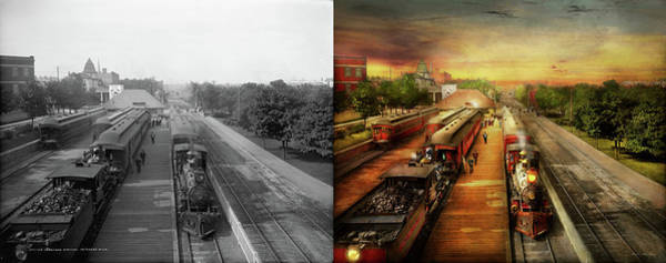 Photograph - Train Station - The Romance Of The Rails 1908 - Side By Side by Mike Savad