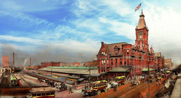Photograph - Train Station - The Wells Street Station 1889 by Mike Savad