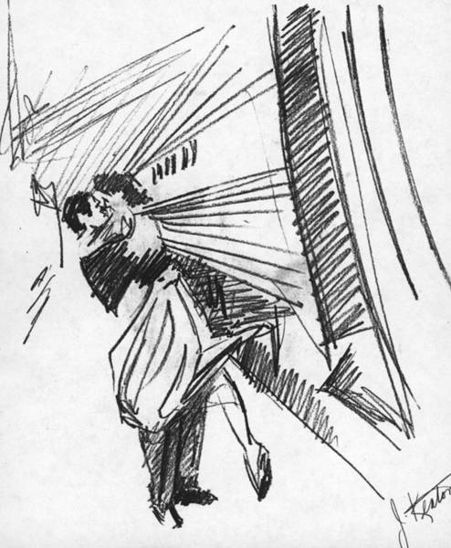 Trains Drawing - Train Stop by John Keaton