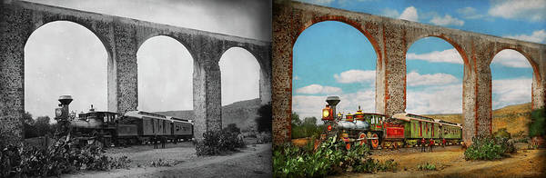 Photograph - Train - The Aqueduct Of Santiago De Queretaro 1885 - Side By Side by Mike Savad
