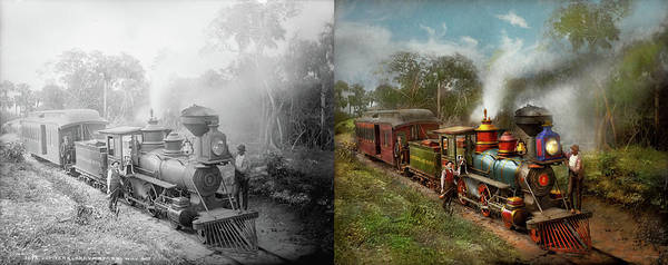 Photograph - Train - The Celestial Railroad 1896 - Side By Side by Mike Savad
