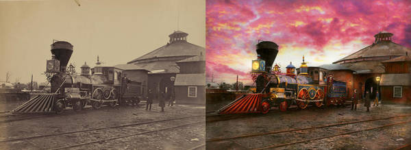 Photograph - Train - The Jh Devereux 1862 - Side By Side by Mike Savad