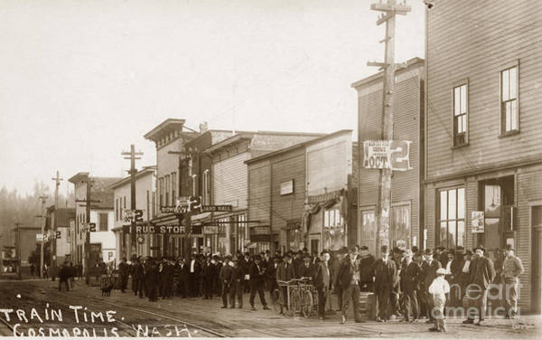 Photograph - Train Time In Cosmopolis Washington Oct. 1907 by California Views Archives Mr Pat Hathaway Archives