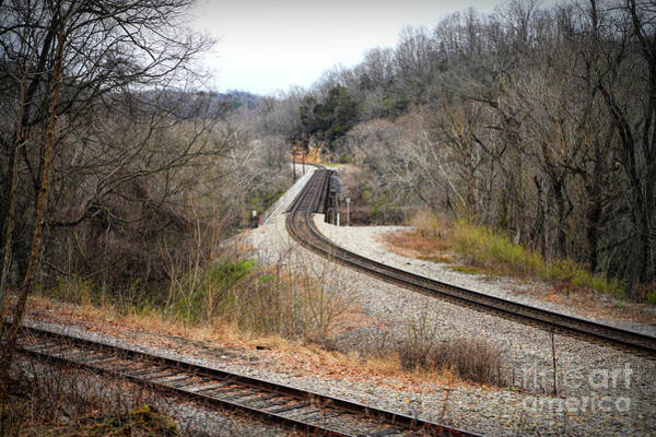 Radford Photograph - Train Tracks Across The New River - Radford Virginia by Kerri Farley